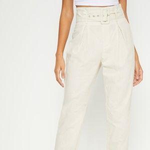 PLT Cream Paperbag Trousers